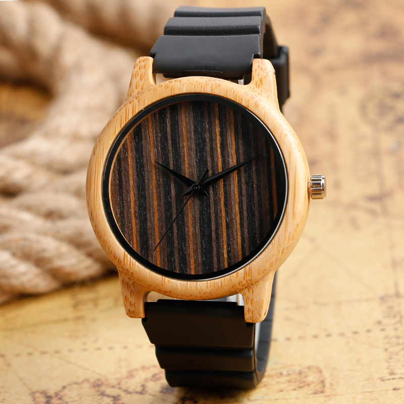 Fashion Wooden Stripe Face Dial Watches Light Hand-made Bamboo Wristwatch with Black Silicone Band for Men Women Relojes  pure white dial face ziz time watches navy