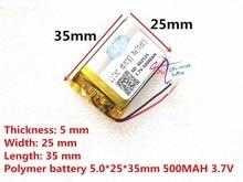 משלוח חינם 3.7 V ליתיום פולימר סוללה 052535 502535 MP4 MP5 DIY מתנות/צעצועים 500 MAH