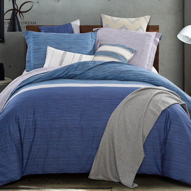 Word Of Dream Plaid Duvet Cover Sets Home Blue White Striped Bedding Set  Cotton Bed Sheets