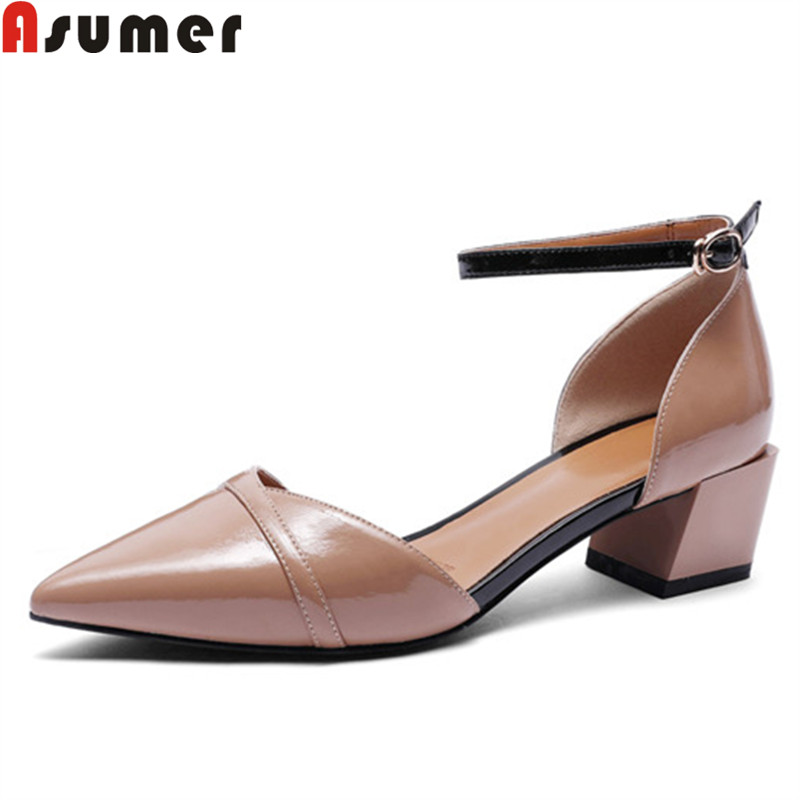 ASUMER fashion spring autumn new shoes woman pointed toe buckle pumps women shoes elegant prom wedding