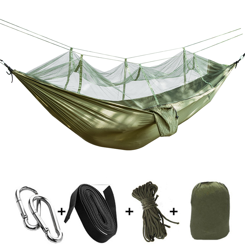 Outdoor Hammock Portable Travel Hanging Sleeping Bed Camping Ultralight Parachute Leisure Mosquito Net Hammock Travel Kit