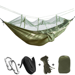 Portable hammock Outdoor Furniture Mosquito net Hammock for Camping hamac travel Sleeping Bed Parachute Fabric Hammock swings