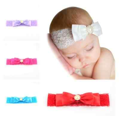 baby girl headband Infant hair accessories cloth pearl bows newborn Headwear tiara headwrap Gift Toddlers ribbon bandage band
