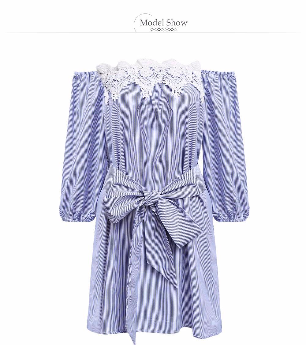VESTLINDA Off Shoulder Blue Striped White Applique Mini Dress Women Slash Neck Lantern Sleeve Casual Sexy Short Dress With Belt 10