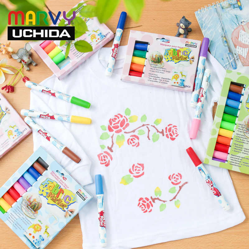 Marvy Fabric Markers Pens 30 Colors Fabric Paint Art Markers Set Child Safe & Non-Toxic DIY Graffiti Painting Clothes Clothing