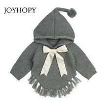 JOYHOPY/Детские свитера с капюшоном; вязаный свитер для девочек; сезон осень-зима; вязаная одежда с бантом для малышей; детская одежда
