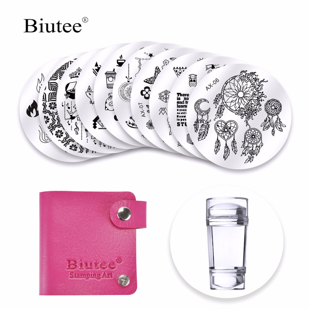 Biutee Dreamcatcher Nail Stamping Plates SeDouble Head Clear Silicone Stamper Scraper Storage Bag Flowers Animal Christmas Image