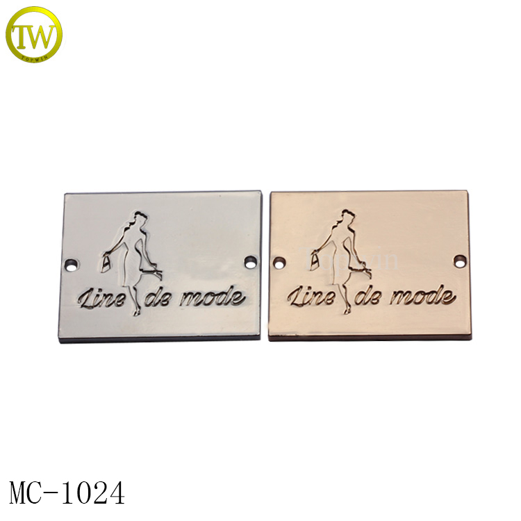 MC1024 Topwin Custom metal tag labels for clothing material garment