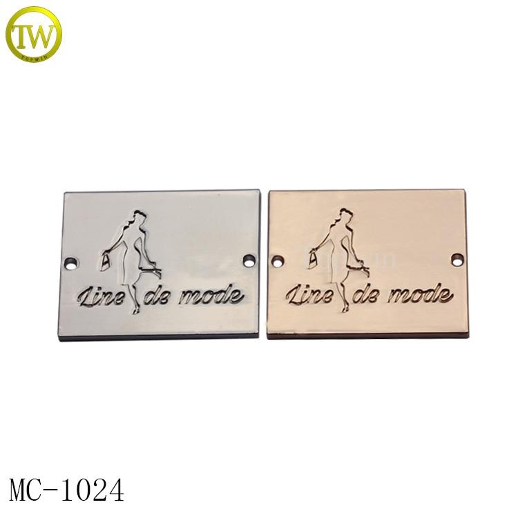 MC1024 Topwin Custom metal tag labels for clothing material garment