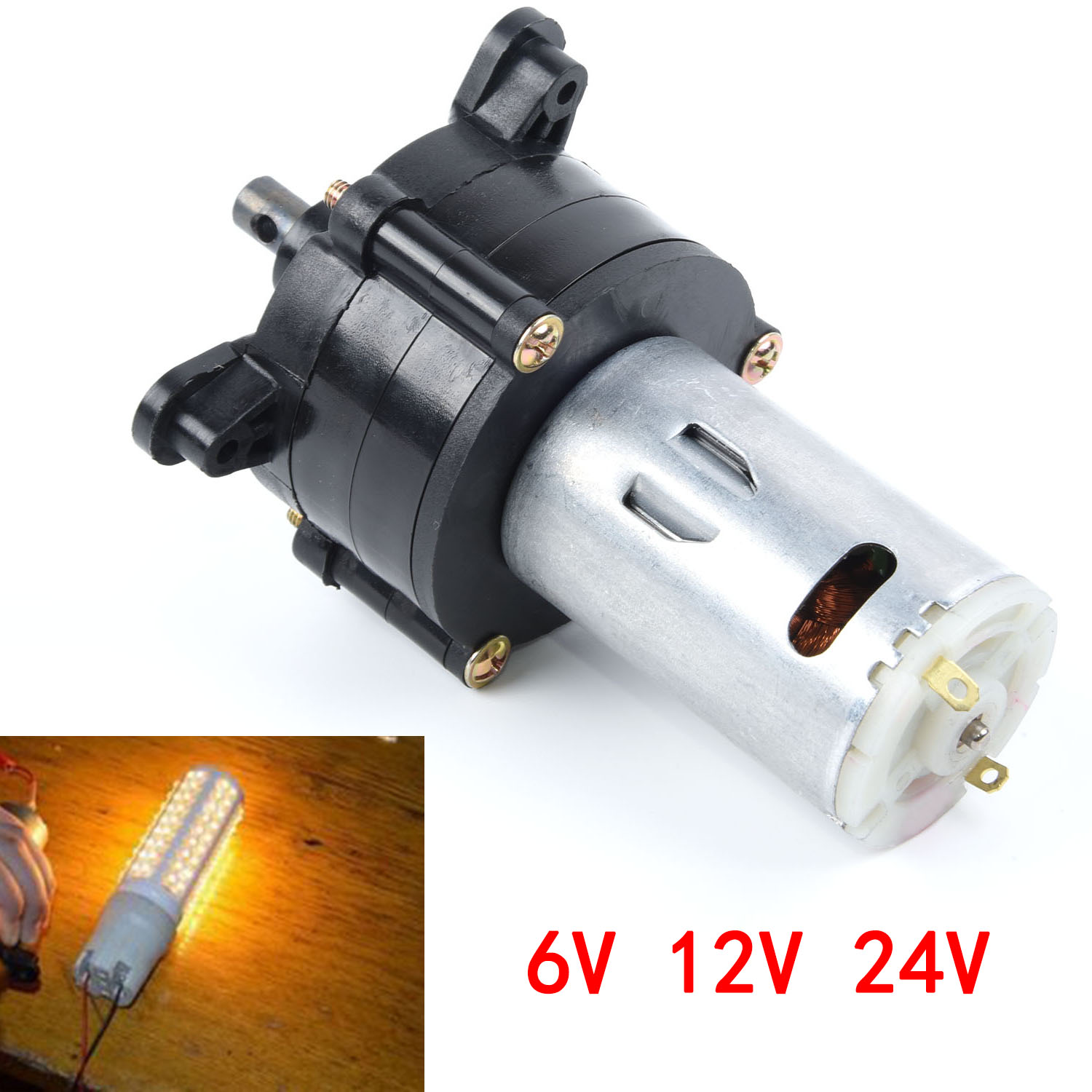 New Arrival Black+Silver DC 6V 12V 24V Generator Hand Dynamo Hydraulic Test Generator Power Supply