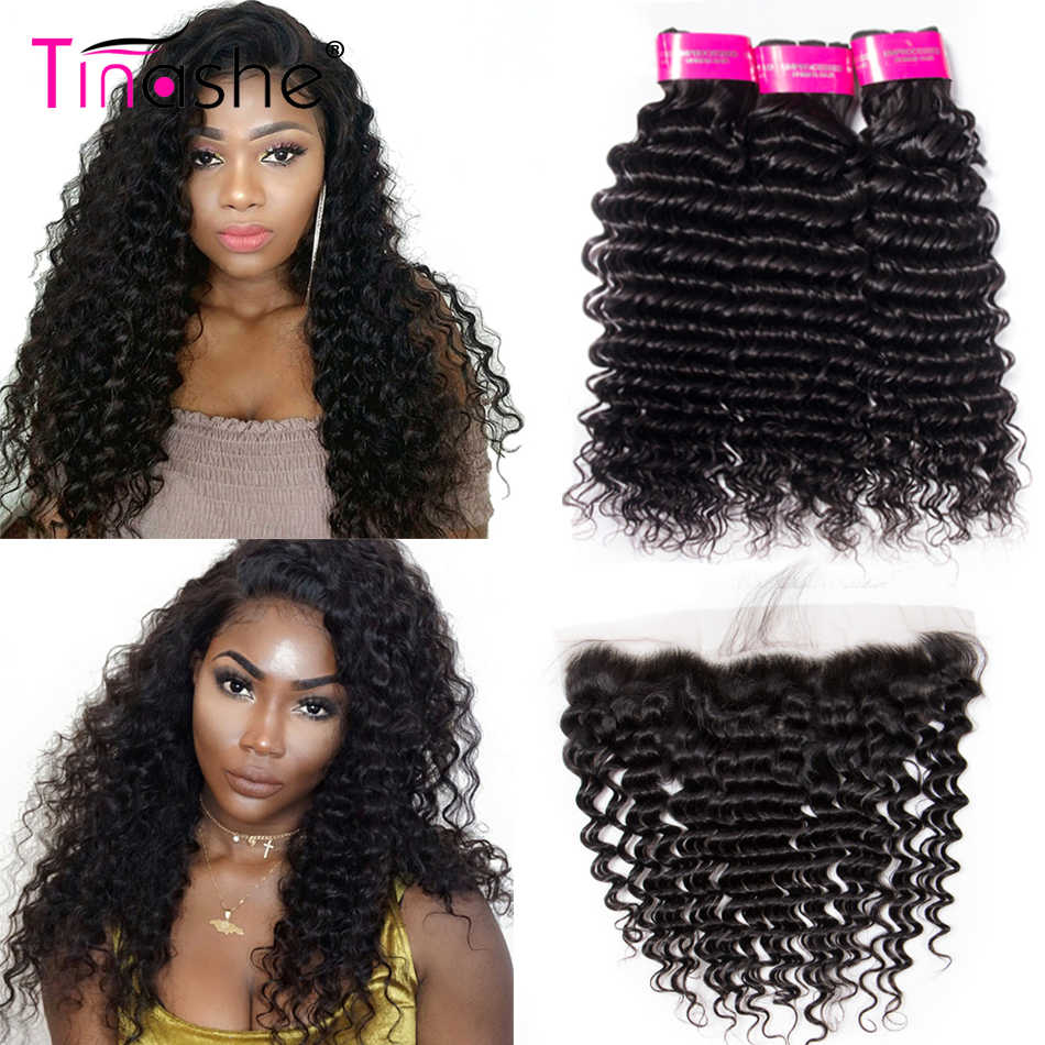 Tinashe Hair Deep Wave Bundles With Frontal Brazilian Hair Lace Frontal Closure With Bundle Remy Human Hair Bundles With Frontal