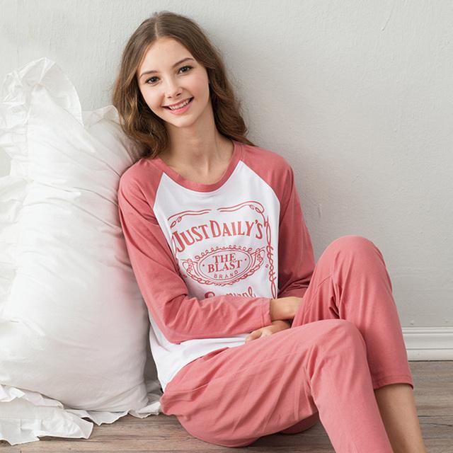 2016 primavera e outono pijama de algodão homewear de manga minimalista mobiliário doméstico terno
