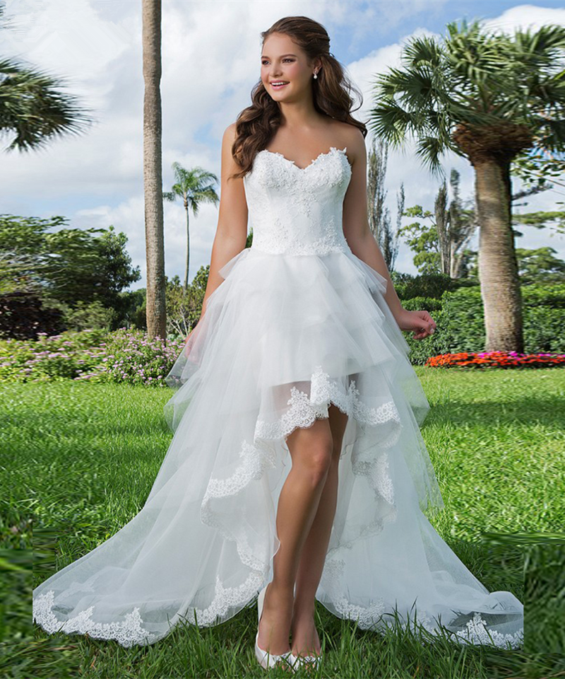 Aliexpress Buy Robe De Mariage 2017 High Low Wedding Dresses Tulle Tiered US 2 4 6 8 10 12 14 16 18 Custom Made Appliques Princess Modern Hot From