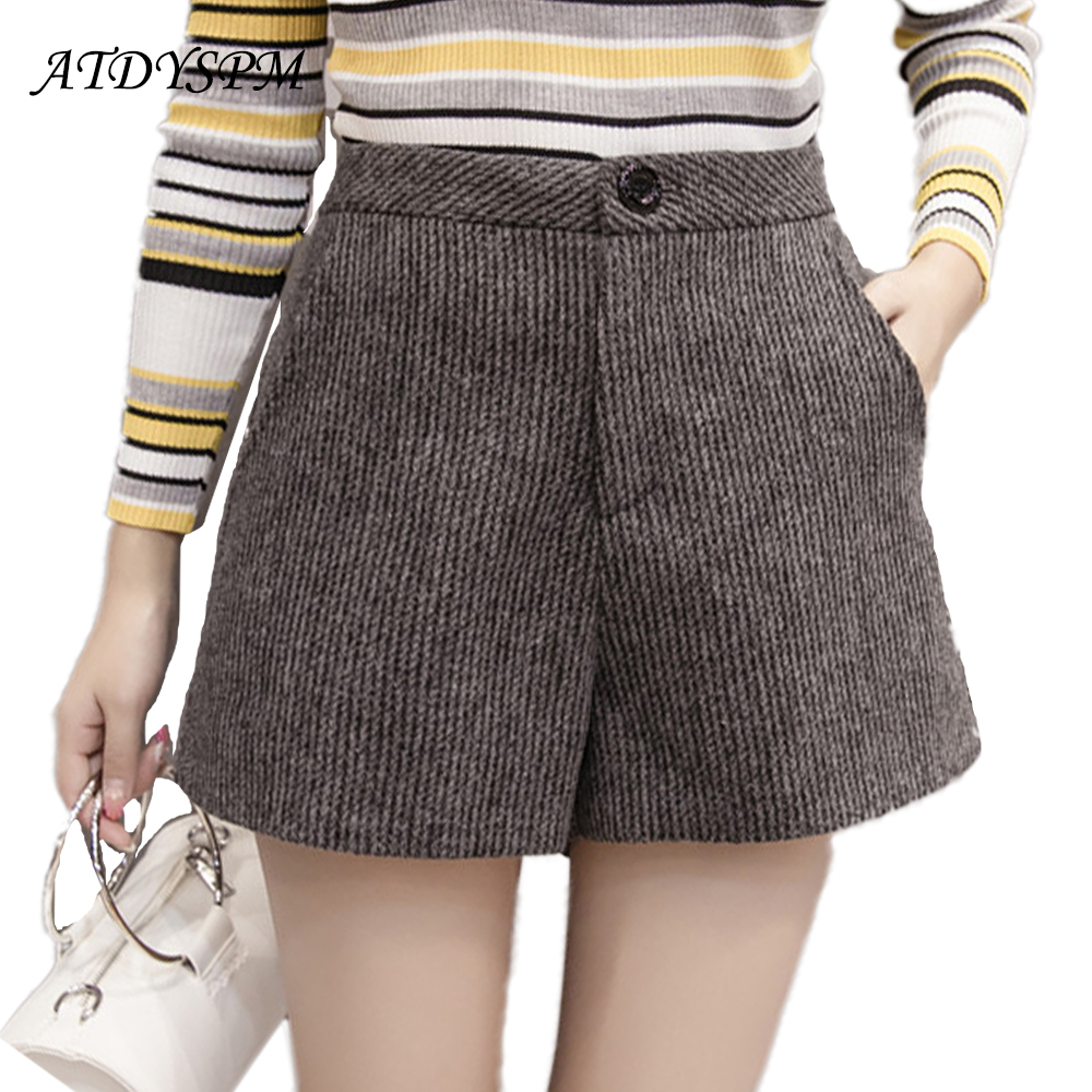 2019 New Fashion Women's  High Waist  Woolen Shorts Loose Korean Casual Women Thick Wide Leg Shorts Winter Spring Warm Style