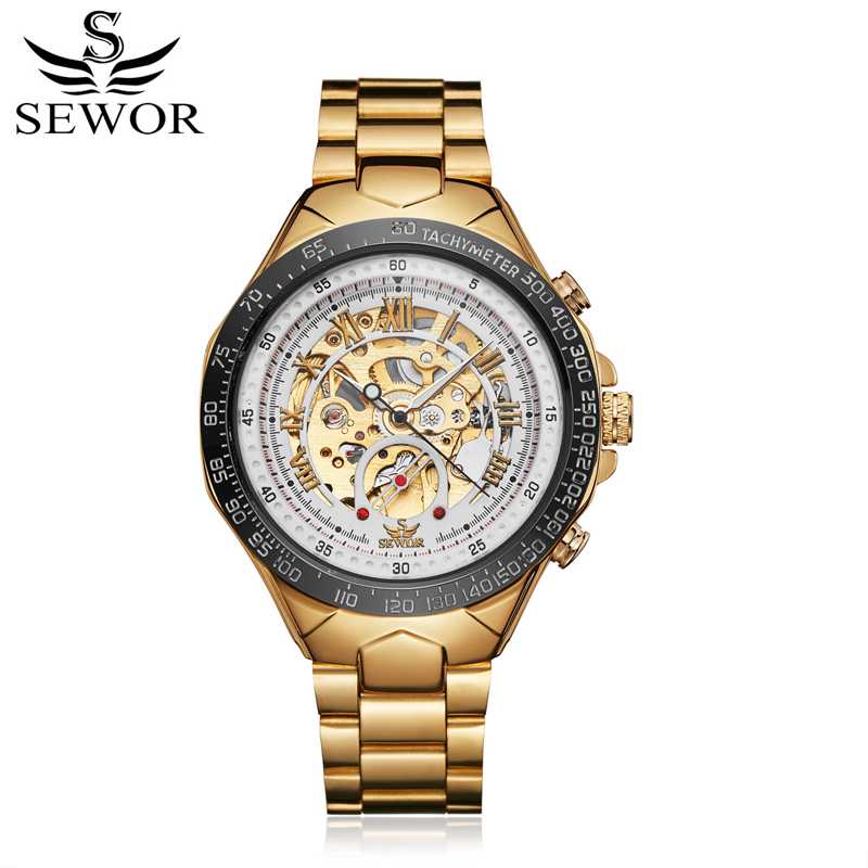 SEWOR Men Watch Mechanical Automatic Self-Wind Mens Mechanic Stainless Steel Luxury Man Watches Skeleton Clock With Box SWQ58 sewor new arrival luxury brand men watches men s casual automatic mechanical watches diamonds hour stainless steel sports watch