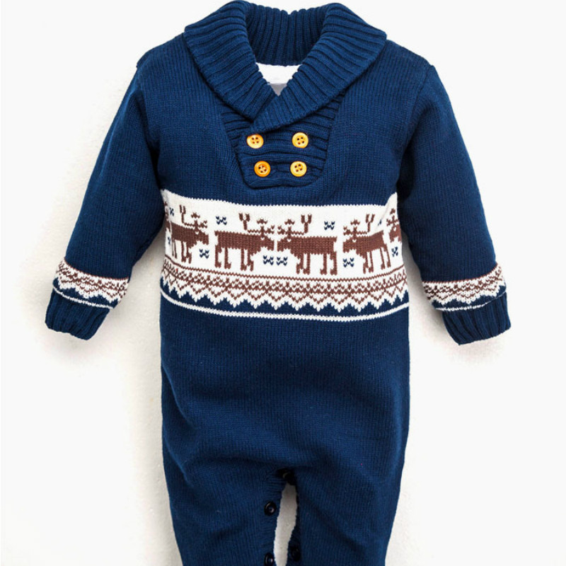 Baby Warm Winter Knitted Wool Sweater Rompers Newborn Boys Girls Jumpsuit Climbing Clothes Christmas Deer Jumpsuit 2017 baby jumpsuits winter overalls deer kinitted rompers climbing clothes sets for newborn boys girls costumes hooded sweater