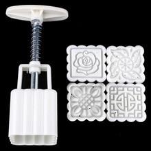 1 бочка+ 4 штампа набор 3D цветок розы Mooncake плесень середины осени фестиваль ручного давления плесень DIY инструмент для выпечки торта формочка для печенья