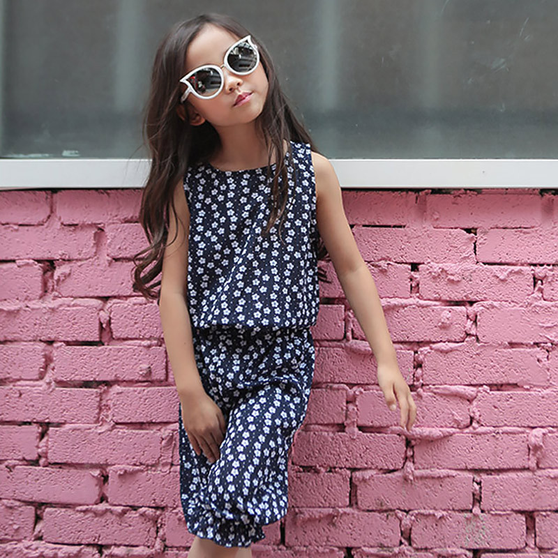 2017 summer floral printed tops kids suits for girls 2 pcs sets sleeveless vest and pants girls clothes sets children clothing baby girls summer suits sleeveless vest shirt cute floral harem pants floral sets