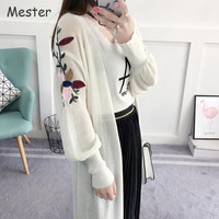 Spring Summer Long Cardigan Lantern Sleeve Embroidery Flower Cardigan Elegant Ladies Loose Thin Knitted Maxi Cardigan