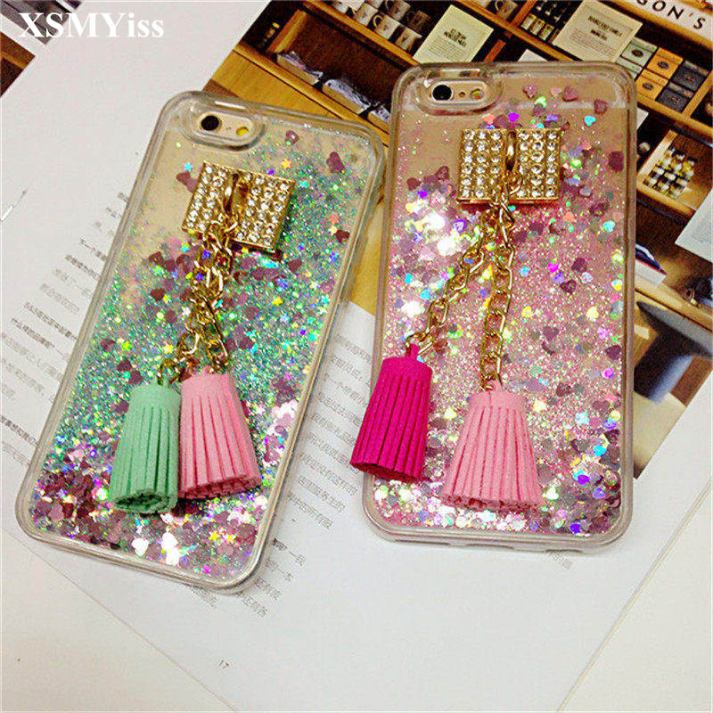 Xsmyiss For Iphone X 6 6s 7 8 7/8plus 6plus Girls Fashion Rhinestone Liquid Sand Shell Mirror Soft Phone Back Cover Lanyard Cellphones & Telecommunications