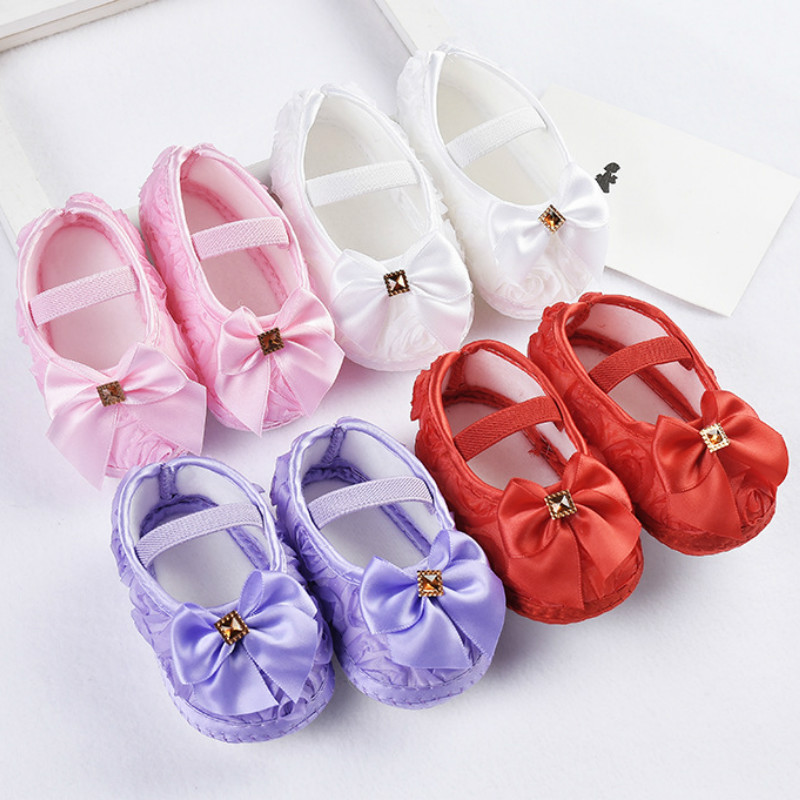 Baby Girl Shoes Ribbon Bow First Walkers Princess Baby Shoes Rose Flowers Bow Newborn Soft Anti-slip for infant Girls 1