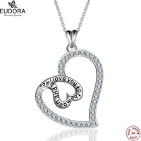 Eudora 925 Sterling Silver Double Heart Love Pendant Engraved I Love You To The Mom And