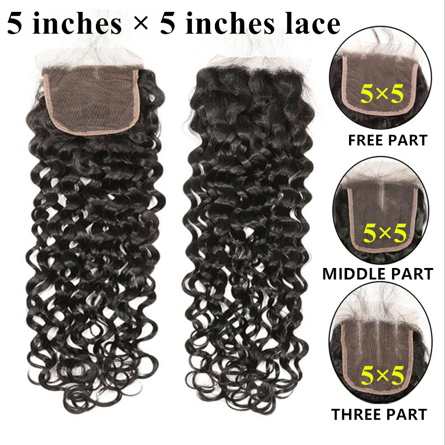 Brazilian Hair Closure 5x5 Lace Closure RXY 100 Remy Human Hair Water Wave Closure Pre Plucked