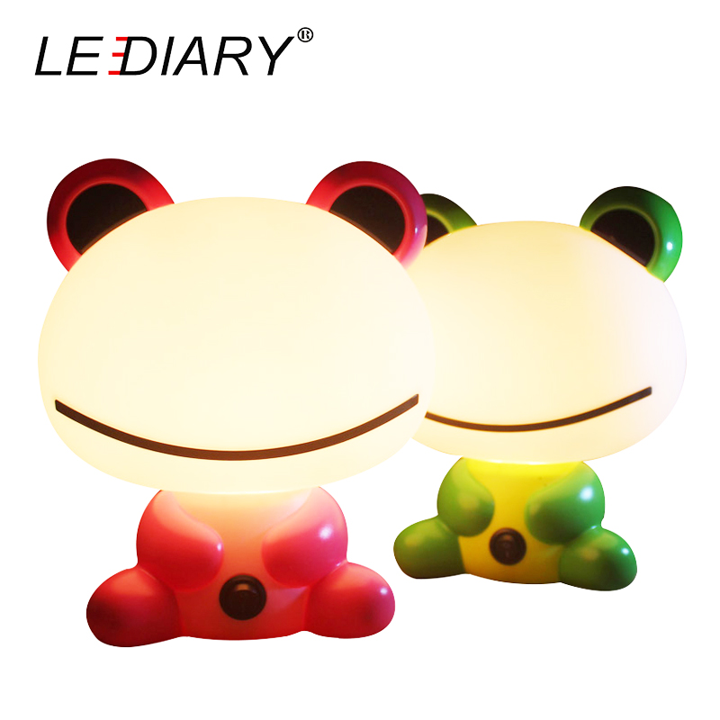 LEDIARY Frog Desk Lamp E14 Replaceable Light Source Pink Green Night Light Baby Bedside Lamp Warm