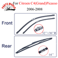 Borracha de silicone brisas dianteiro e traseiro wiper blades para citroen c4 (grand) picasso, 2006-2008, brisa limpador acessórios do carro
