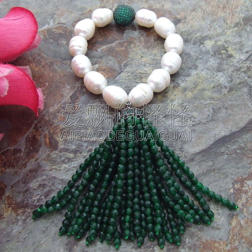 B071913 Green  White Rice Freshwater Pearl Fringle Bracelet CZ PendantB071913 Green  White Rice Freshwater Pearl Fringle Bracelet CZ Pendant