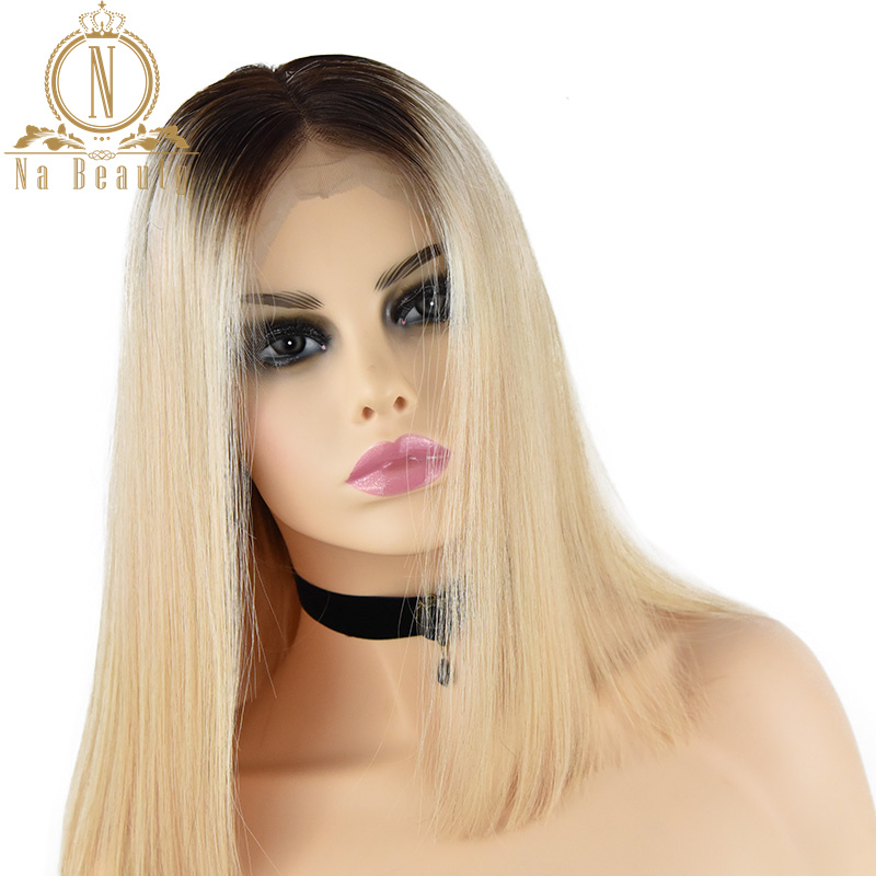 4/613 Couleur Blonde Cheveux Perruques Cheveux Brésiliens 13*4 Avant de Lacet de Cheveux Humains Courte Bob Perruques Femmes Pré Pincées délié 150% Remy Cheveux