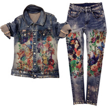 Pants Suit Painting Jeans Jacket Flowers Fashion Women Two-Pcs Elastic-Material Print