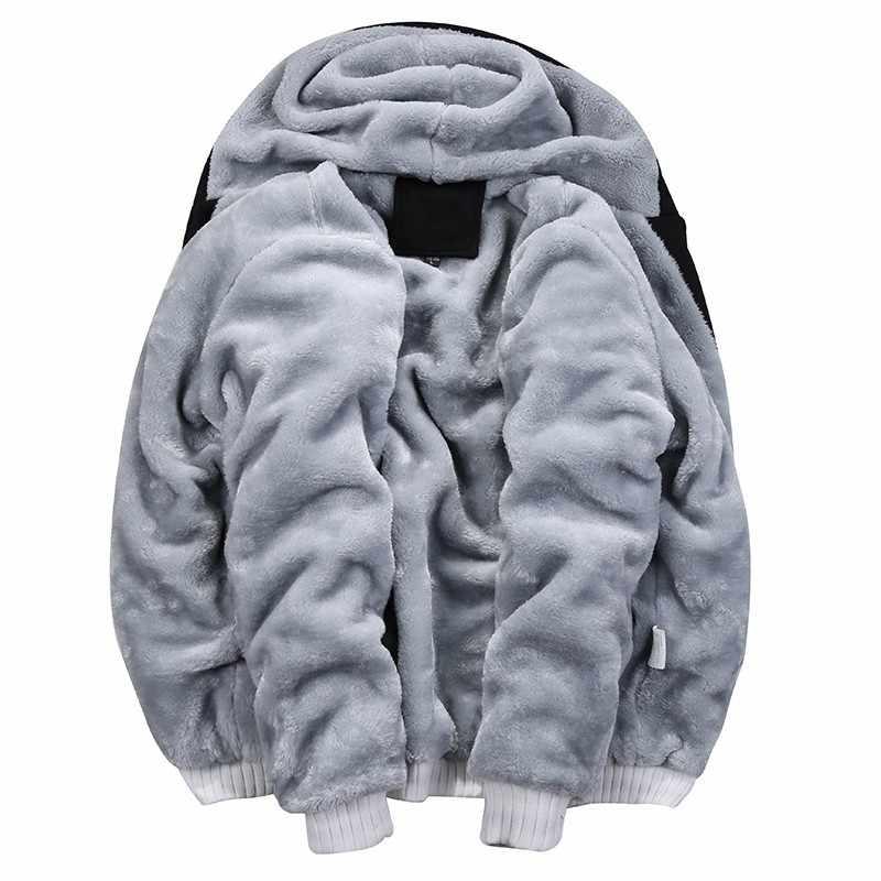 Mùa đông Lông Cừu Bên Trong Hoodies Men 2019 Thường Đội Mũ Trùm Đầu Áo Nỉ Ấm Nam Dày Tracksuit 2 PC Áo + Quần Nam Moleton masculino