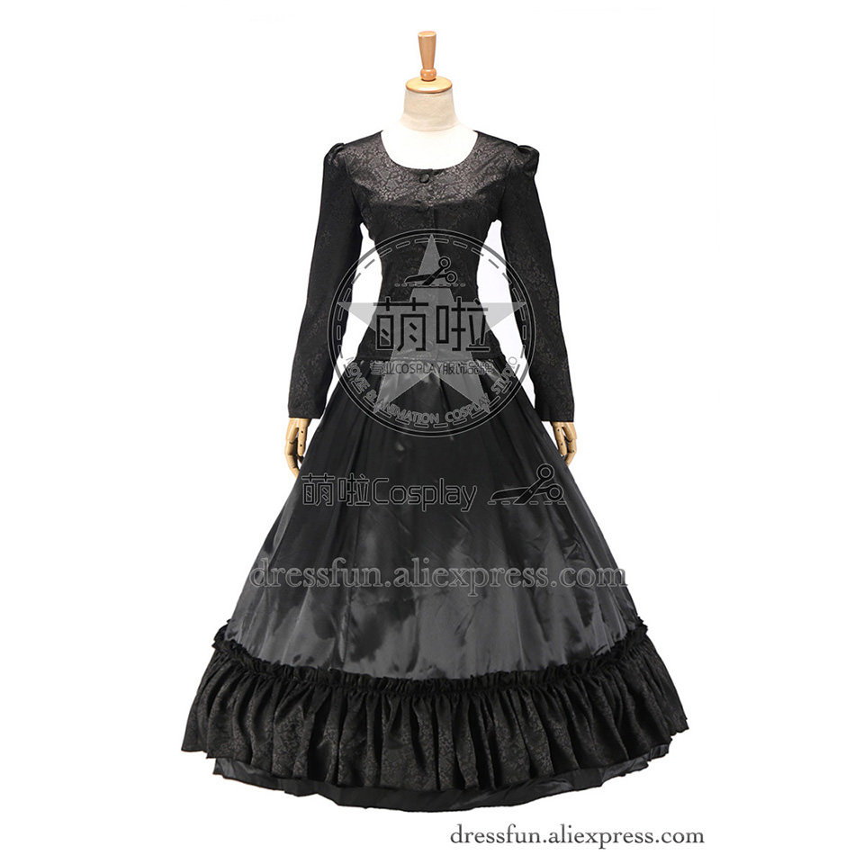 Gothic Dress Victorian Brocade Dress Ball Gown Vintage Elegant Long Sleeve Dress Fast Shipping Beautiful for Party