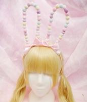 Sweet Lolita japanese harajuku Style Bunny ear Handmade Hair Hoop tiny furry ball Cosplay headband Party Accessory