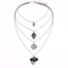 KMVEXO Bohemian Leaves Hand Compass Elephant Necklace Women Hippie Boho Statement Multi layer Bib Necklaces Bijoux Maxi Colar