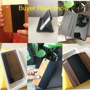 Image 3 - FLOVEME kılıf iPhone 11 6 6 S 7 8 X XS XS Max XR bambu ahşap durumda iPhone 6 s 7 8 artı 11 12 Pro Max Mini Flip Case deri