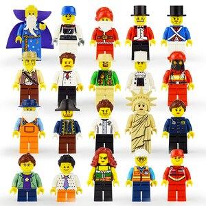 Image 2 - 20 Stks/partij Enlighten Minifiguurtje Bouwstenen Cijfers Bricks Diy Speelgoed Politie Soldaat Beroepen Mini Mensen Voor Kids Gift