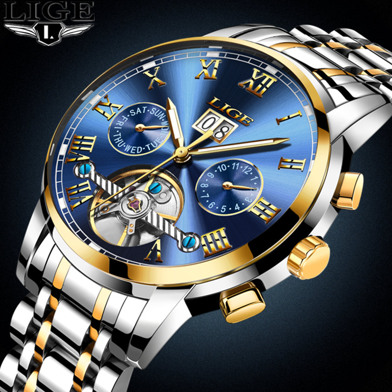 LIGE Mens Watches Top Brand Luxury Automatic Watch Men Full steel Wrist watch Man Fashion Casual Waterproof Clock relojes hombre forsining date month display rose golden case mens watches top brand luxury automatic watch clock men casual fashion clock watch