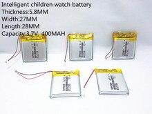 Li-ion para Q50 Y3 das Crianças 1 Pcs 3.7 V 400 Mah Recarregável Li-polímero Bateria G700s K92 G36 Relógios Inteligentes Mp3 582728 602828