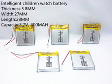 1pcs 3.7V 400mAh Rechargeable li-Polymer Li-ion Battery For Q50 G700S K92 G36 Y3 Children's smart watches mp3 582728 602828