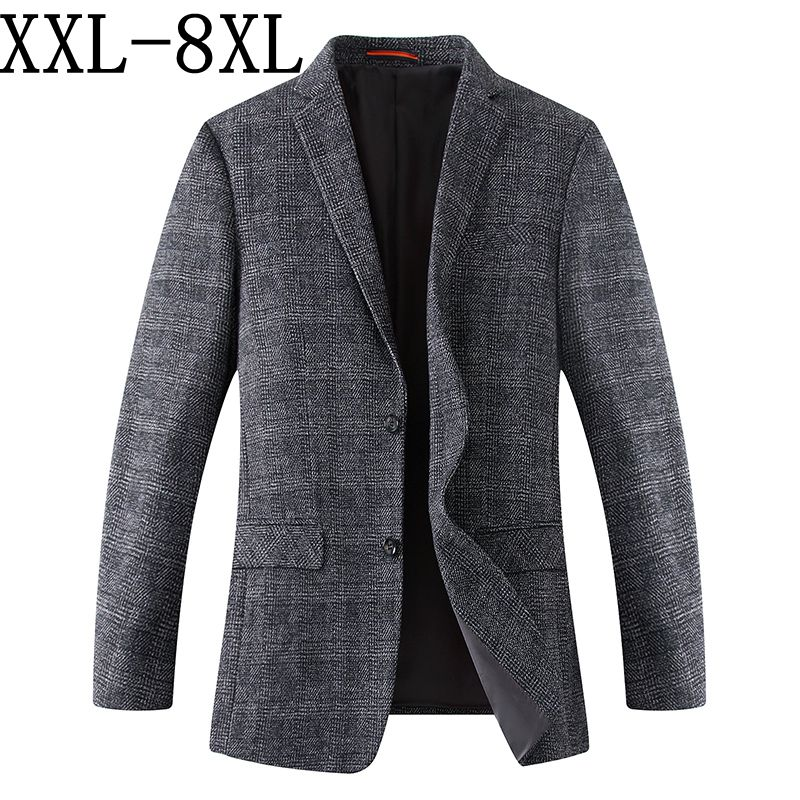 8XL 7XL 2018 جديد وصول العلامة التجارية الملابس الصوف سترة Autumu سترة الرجال السترة أزياء فضفاضة الذكور الدعاوى عارضة الحلل الرجال-في السترات من ملابس الرجال على  مجموعة 1