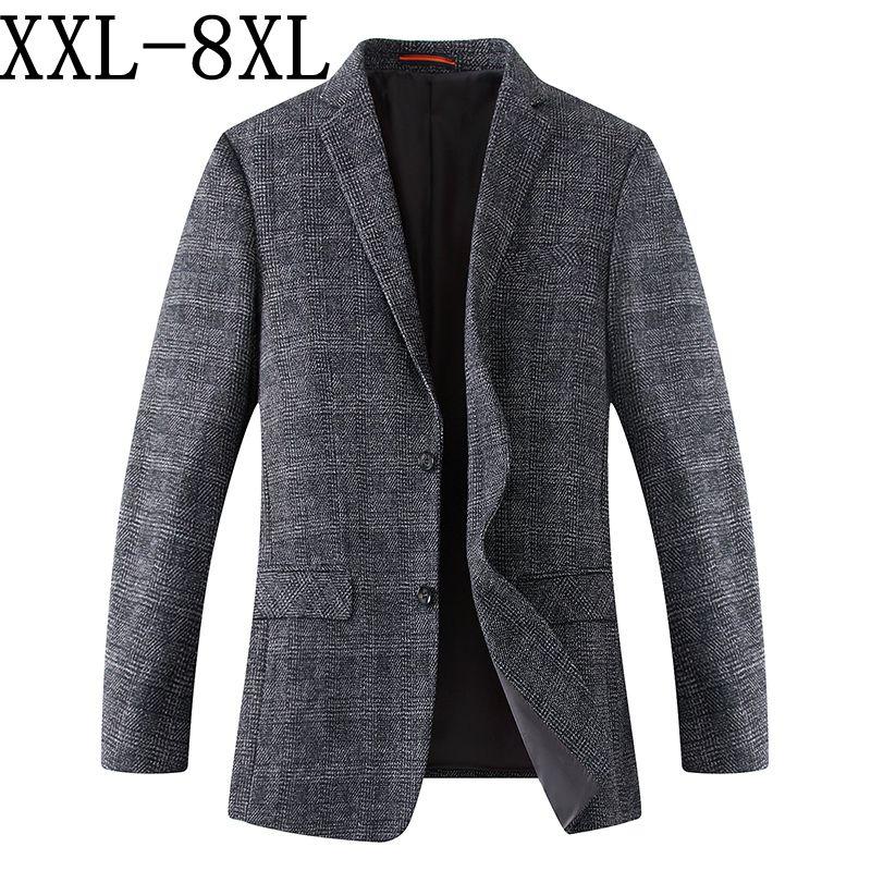 8XL 7XL 2018 Nieuwe Collectie Merk Kleding Wol Jas Autumu Jasje Mannen Blazer Mode Losse Mannelijke Past Casual Blazers mannen-in Blazers van Mannenkleding op  Groep 1