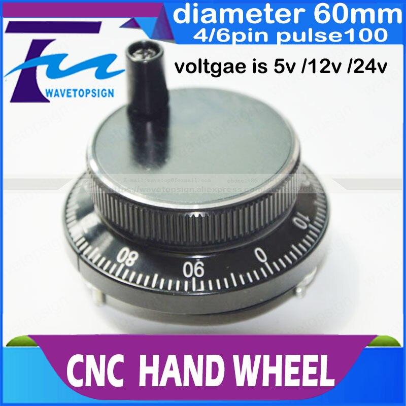 CNC electronic hand wheel diameter  60mm Pulse number 100  voltage  5v  12v 24v    pins  4  or 6  цены