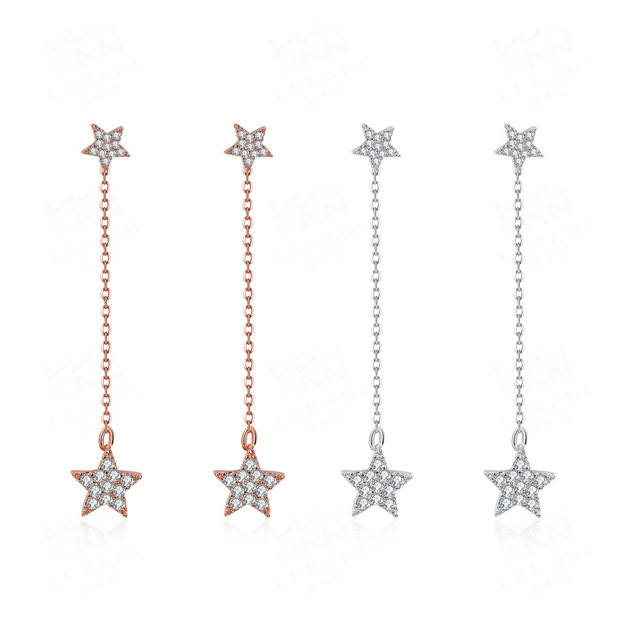 Dangle Earrings For Women 2017 New Long Hanging Star Inlaid Cubic Zirconia Rose Gold White Color Chain In Drop From Jewelry