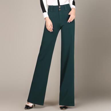 azul Hdl0817 Mujeres Negro marrón Pierna borgoña Moda De verde Tamaño Plus Marrón Verde Ancha Cintura Negro Completa Nueva Alta Las Longitud Pantalones Femeninos Azul cgqRUYYwf