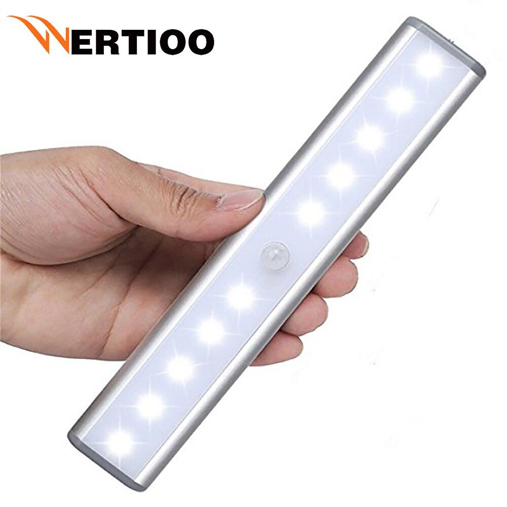 WERTIOO LED Night Light IR Infrared Motion Sensor Night Light 10LEDs Battery Powered  Wireless LED Closet Lights Wardrobe Lights