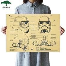 DLKKLB Звездные войны винтажные фильмы Плакаты Классический дизайн шлемов рисунки крафт-бумага декоративный Рисунок, для бара, для кафе наклейки на стену