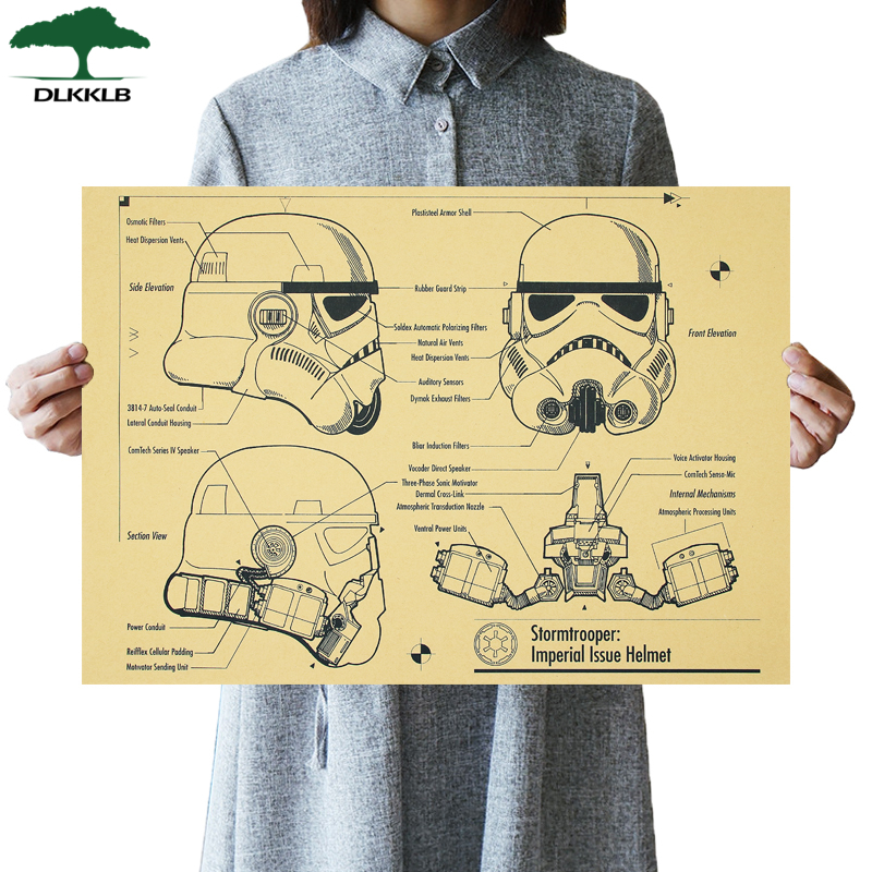 DLKKLB Star Wars Vintage Movies Posters Classic Helmets Design Drawings Kraft Paper Decorative Painting Bar Cafe Wall Stickers