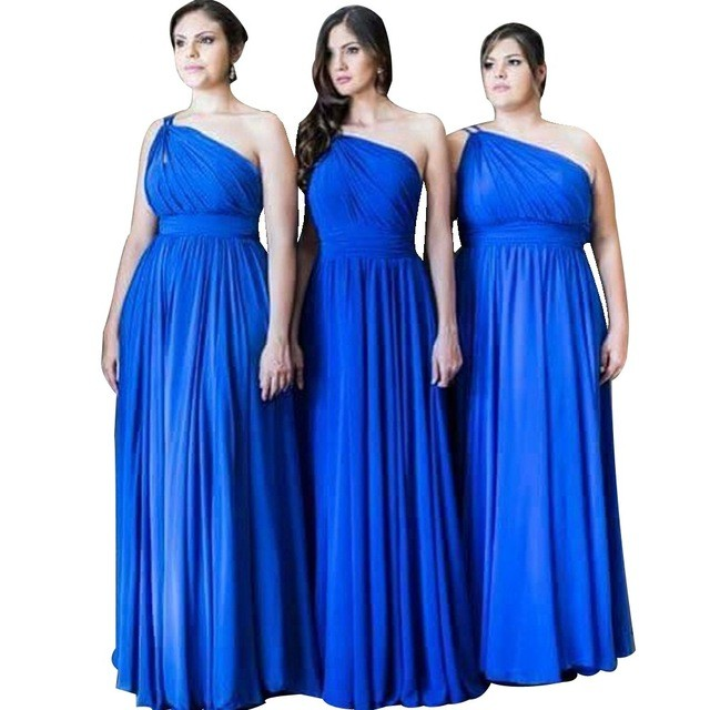 One Shoulder Chiffon   Bridesmaid   Gowns Red/Navy Blue/Peach/Ivory/Champagne/Silver Royal Blue Hot Chiffon   Bridesmaid     Dresses